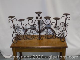 Heavy Wrought Iron Tabletop Candelabra