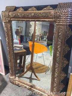 Black + Gold Deep Frame Hanging Mirror