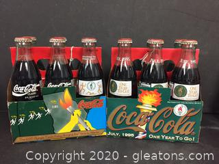 2 Unopened 1995 & 1996 Olympics ATL Coca Cola Six Pack (a)