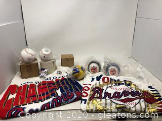 Lot with 1995 World Series Champions Atlanta Braves T-Shirts and Sponsored Coca-Cola Baseballs