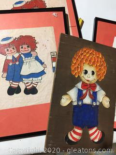 Ragged Ann + Andy Wall Hanging Art Lot