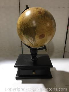 Vintage Style Desk Globe with Wood Drawer