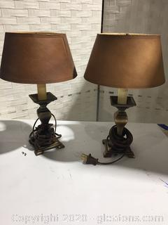 Small Brass Accent Lamps with Tan Shades (Pair)