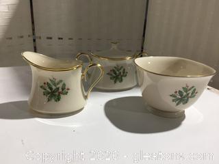 Lenox Holiday Sugar, Creamer & Treat Bowl