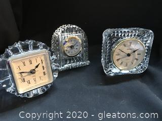 Three crystal clocks