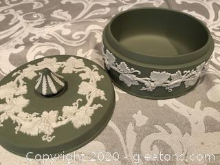 Wedgewood green Jasperware covered box dish