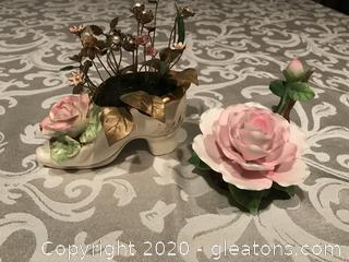 Porcelain pink rose and shoe pin cushion
