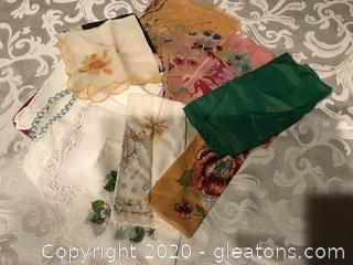Vintage hankies and silk scarves