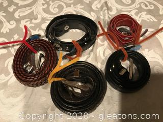 Five leather belts