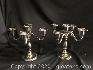 Five light silver plate candelabra set of two