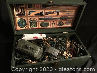 GI Joe box filled with plastic army figures