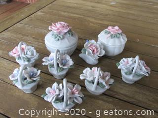 2 Porcelain Flower Trinket Box / 1 Mini Porcelain Flower Figurine / 6 Mini Porcelain Flowers in a Basket