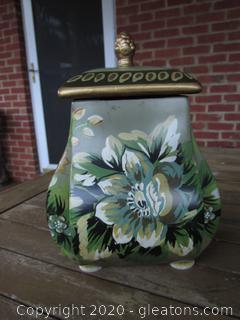 Porcelain Green Floral Tea Jar Canister Designed By Raymond Waites