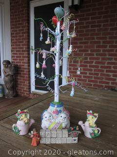 Easter Tree with tiny Ornaments / 2 Small Resin Watering can Trinket boxes / Happy Easter Resin Block Figurine with a Child Angel singing to a Bird