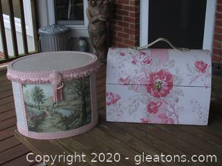 2 Decorative Storage Boxes  / Oval with Fringe with a Garden Image / Camel Back Trunk with hook and Handle