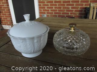 2 Lidded Bowls / White floral Kaiser Candy Bowl (issue see photo) / Clear  Diamond Pattern Trinket Bowl