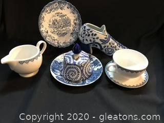 Blue and white lot