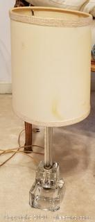 Antique Etched Glass Lamp B