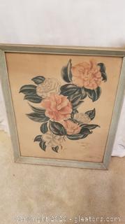 Vintage Framed Lila Moore Keen Floral Print