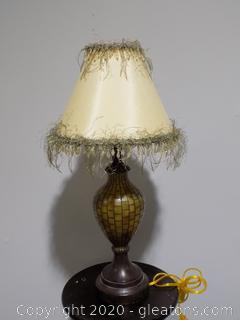 Small Table Lamp with Silk and Crystal Fringe Shade