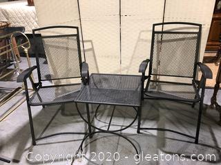 Patio Set - Cast Metal Table and Two Folding Chairs