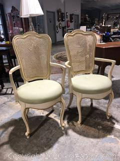 2 Vintage Thomasville French Provincial Dining Arm Chairs