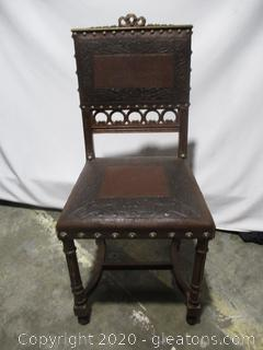 Vintage Carved Wood and Tooled Leather Chair