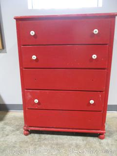 5 Drawer Red Chest Drawers