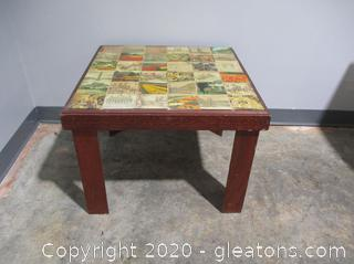 Unique Wooden End Table with Handmade Square Tiles