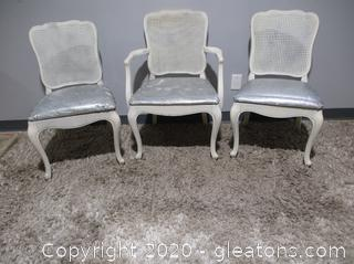3 White French Provincial Rattan Back Dining Chairs