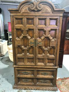Vintage Clothing Armoire - Pecan Finish