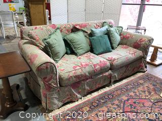 Traditional Sofa with Floral Slipcover