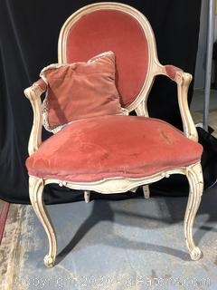 French Victorian Style Oval Back Accent Chair