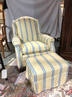 Yellow and Blue Stripe Accent Chair with Ottoman