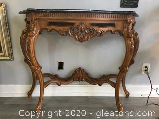 Ornate Foyer Table with Black/White Marble Top