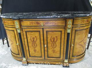 Very Elegant Biedermeier Sideboard with Black and Gold Trim and Marble Top