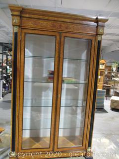 Elegant Biedermeier Lighted Wood and Glass Display Case