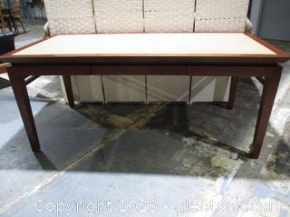 Modern Wood Desk with Leather Top
