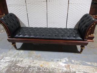 Elegant Tuffed Black Leather Bench with Gold Trim