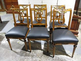 6 Lyre Back Elegant Biedermeier Dining Side Chairs
