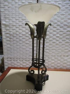 Table Lamp Featuring 3 Column Feather Design with Glass Shade (A)