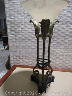 Table Lamp Featuring 3 Column Feather Design with Glass Shade (B)