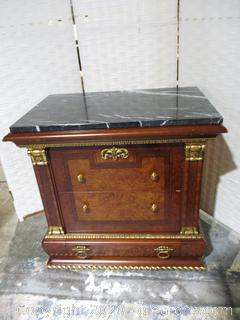 Elegant Biedermeier Night Stand with Black and White Marble Top (B)