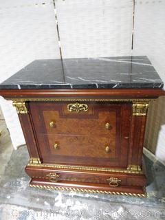 Elegant Biedermeier Night Stand with Black and White Mable Top (A)