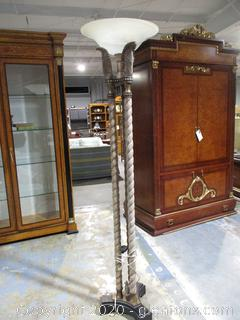 Floor Lamp with 3 Column Feather Design with Glass Shade