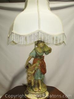 """Pieri Hand Carved/Hand Painted """"Mother with Child"""" Lamp - Chalkware"""