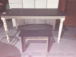 Solid Wood Framhouse Style Table and Bench Seat