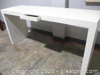 Modern White Desk/Entry Table with 1 Drawer
