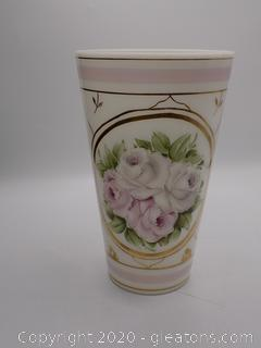 Hand Painted White Glass Vase Gold Trim