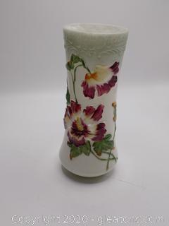 Pheonix Co.Hand Painted Milk Glass Vase